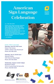 Flyer for ASL Celebration. Description is in the text of the main post.