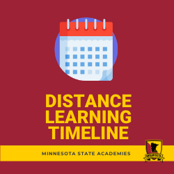 "Image of a calendar. Title says ""Distance Learning Timeline."" Clicking this link sends the user to an infographic."