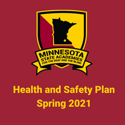 "MSA Logo and words ""Health and Safety Plan, Spring 2021"". Links to the Health and Safety Plan document."